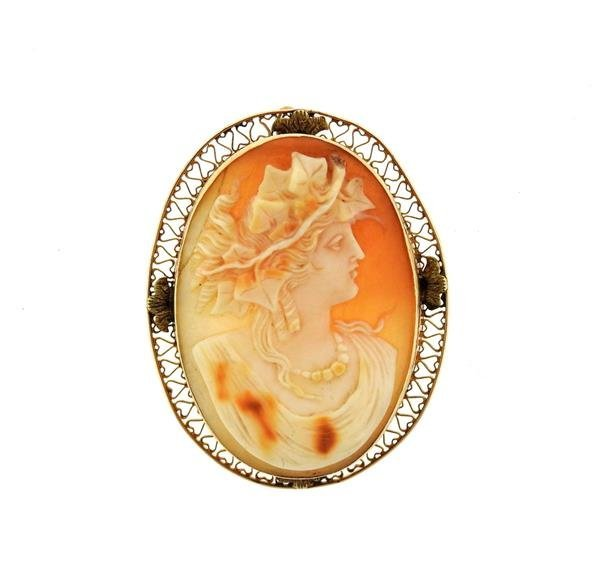 Antique 14K Gold Large Cameo Brooch Pendant