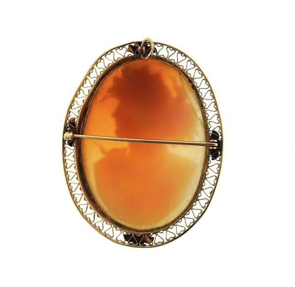 Antique 14K Gold Large Cameo Brooch Pendant - 3