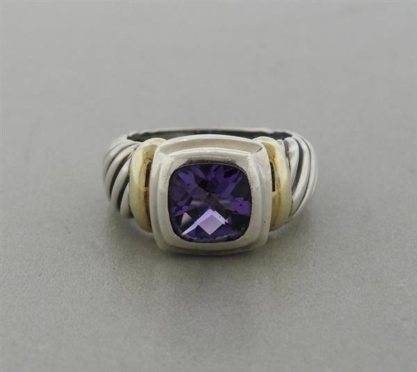 David Yurman 14K Gold Sterling  Amethyst Cable Ring