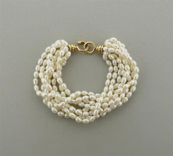 Tiffany & Co Picasso 1980s 18k Gold Pearl  Bracelet