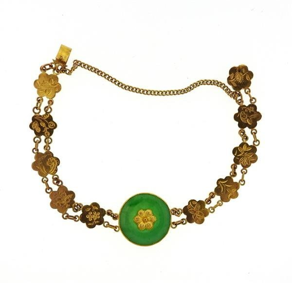 22k Gold Jade Bracelet - 2