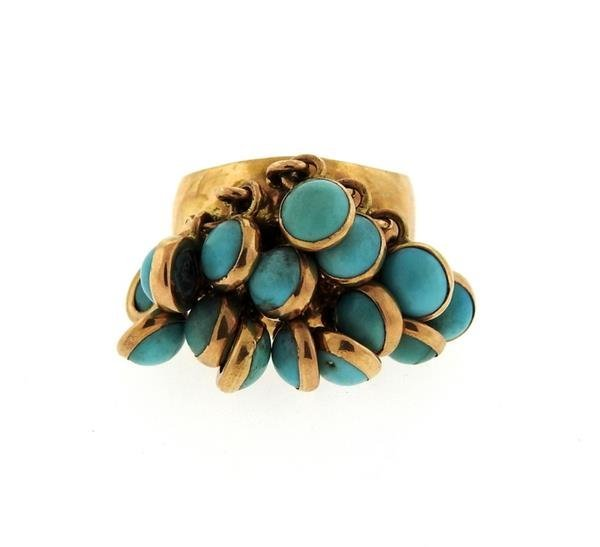 18k Gold Turquoise Charm Ring