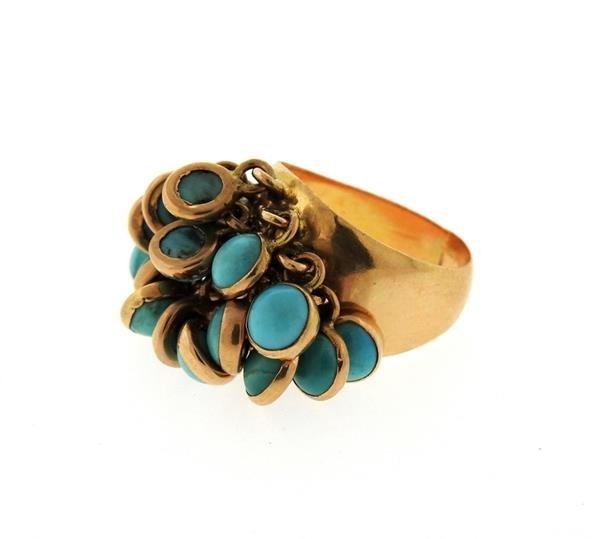 18k Gold Turquoise Charm Ring - 2