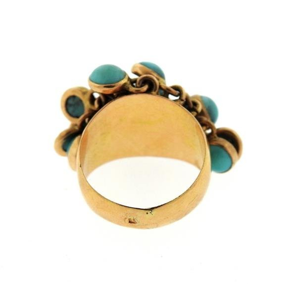18k Gold Turquoise Charm Ring - 3