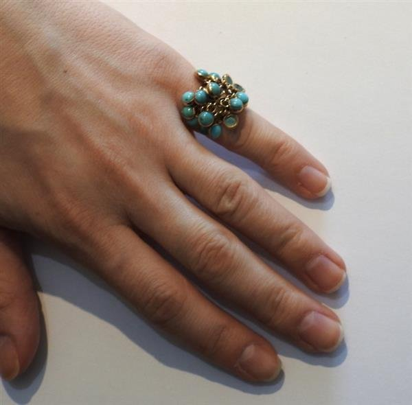 18k Gold Turquoise Charm Ring - 4