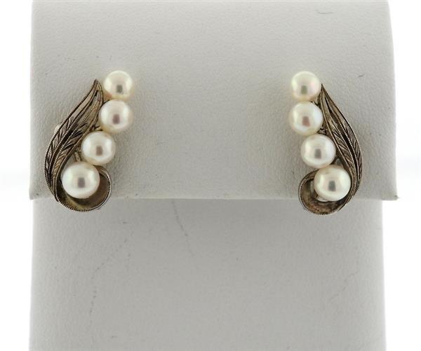 Mikimoto Sterling Pearl Earrings