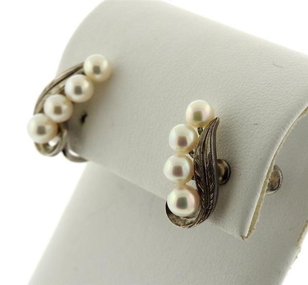 Mikimoto Sterling Pearl Earrings - 2