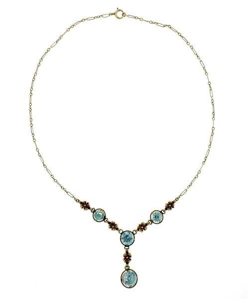 Antique Art Deco 14k Gold Blue Zircon Necklace