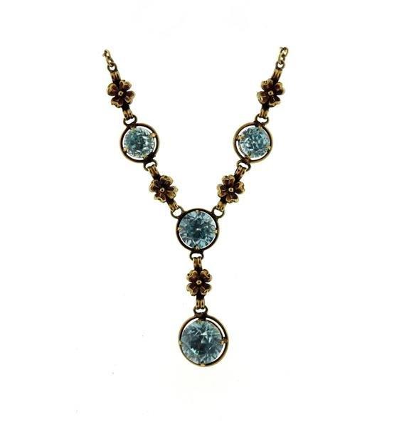 Antique Art Deco 14k Gold Blue Zircon Necklace - 2
