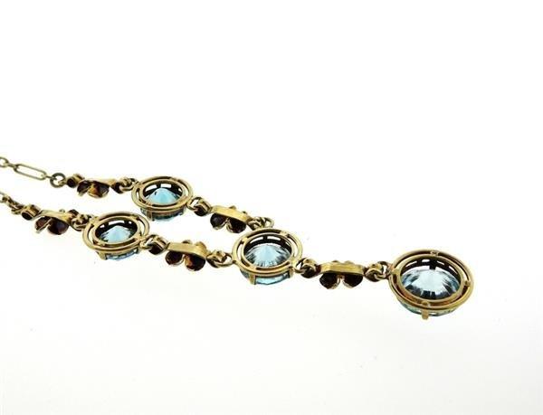 Antique Art Deco 14k Gold Blue Zircon Necklace - 3
