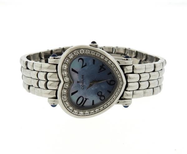 Corum Steel Diamond Mother of Pearl Heart Watch