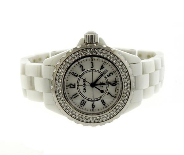 Chanel J12 White Ceramic Diamond Watch