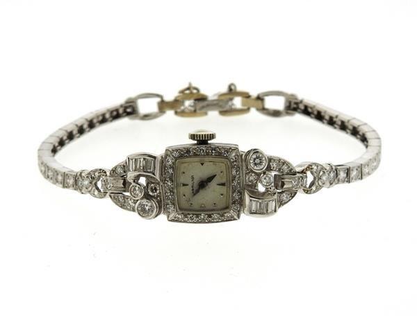 1950s Hamilton Platinum Diamond Watch Bracelet