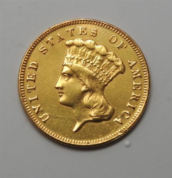1874 Indian Princess 3 Dollar Gold US Coin