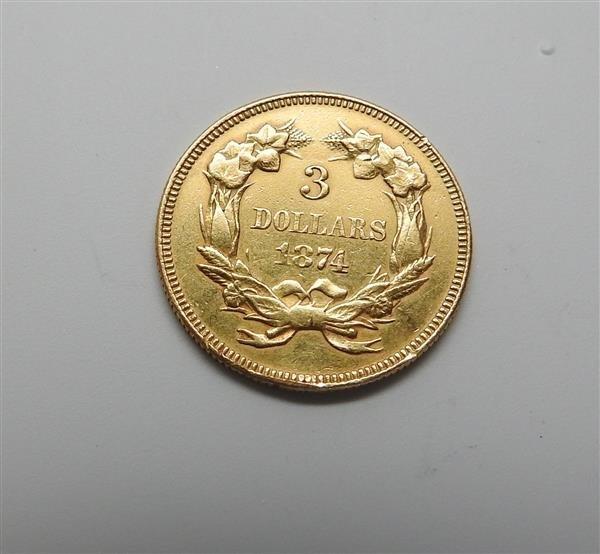 1874 Indian Princess 3 Dollar Gold US Coin - 2