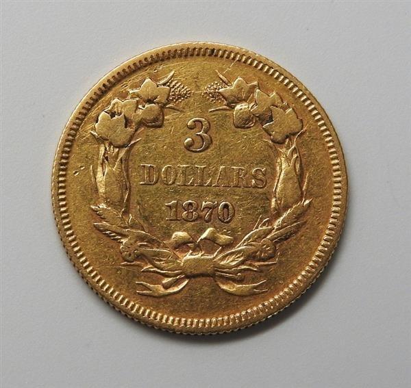 1870 Indian Princess 3 Dollar Gold US Coin - 2