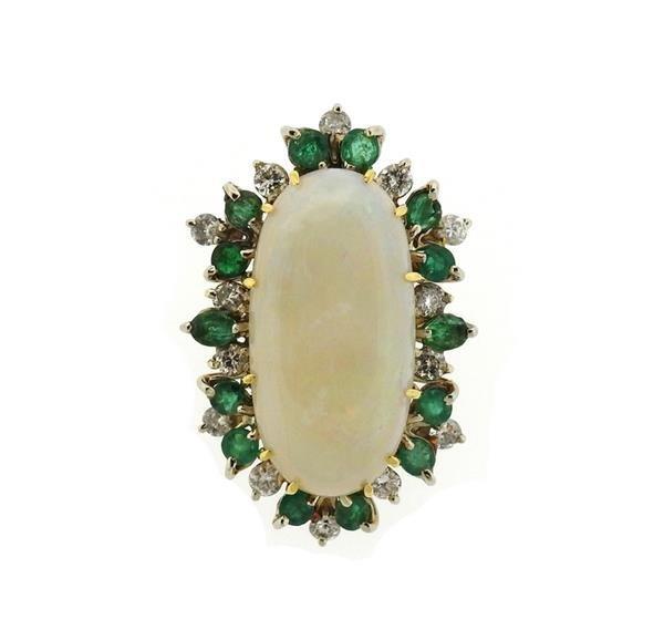 18K Gold Opal Diamond Emerald Pendant