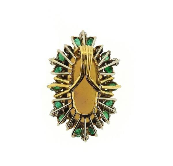 18K Gold Opal Diamond Emerald Pendant - 3