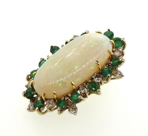 18K Gold Opal Diamond Emerald Pendant - 4