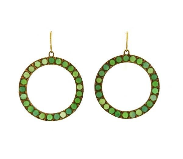 18K Gold Chrysoprase Open Circle Earrings