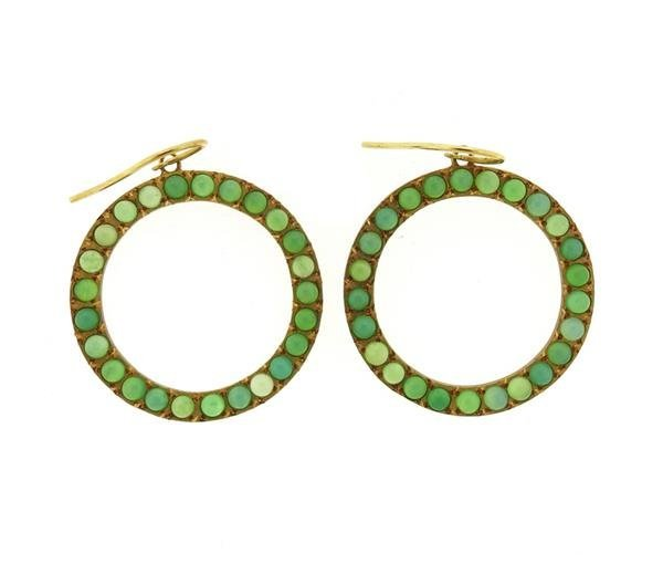 18K Gold Chrysoprase Open Circle Earrings - 2