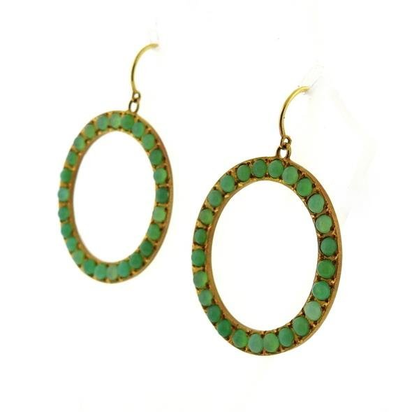 18K Gold Chrysoprase Open Circle Earrings - 3