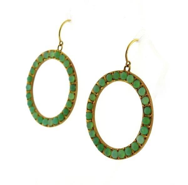 18K Gold Chrysoprase Open Circle Earrings - 3