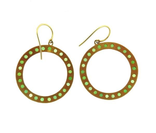18K Gold Chrysoprase Open Circle Earrings - 4