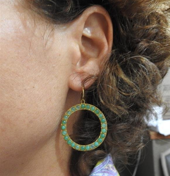 18K Gold Chrysoprase Open Circle Earrings - 5