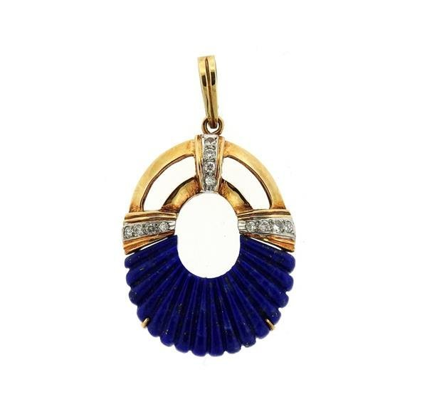 14K Gold Diamond Carved Lapis Oval Pendant