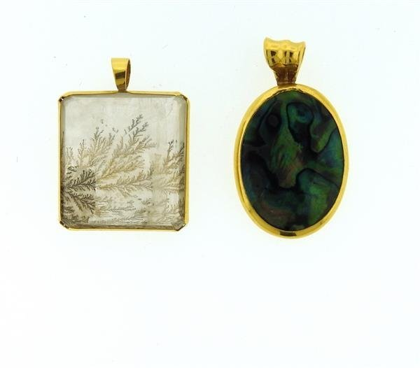 22K Gold Crystal Abalone Pendant Lot of 2