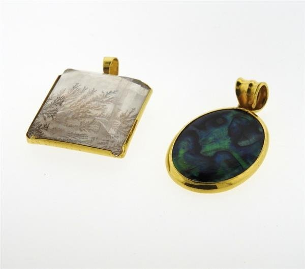 22K Gold Crystal Abalone Pendant Lot of 2 - 2