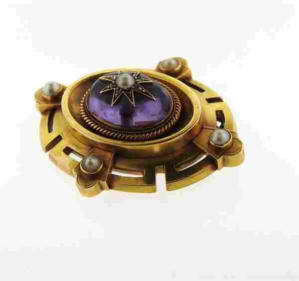 Antique Victorian 14K Gold Amethyst Diamond Pearl