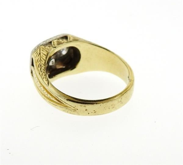 Art Deco 14K Gold Diamond Ring - 3