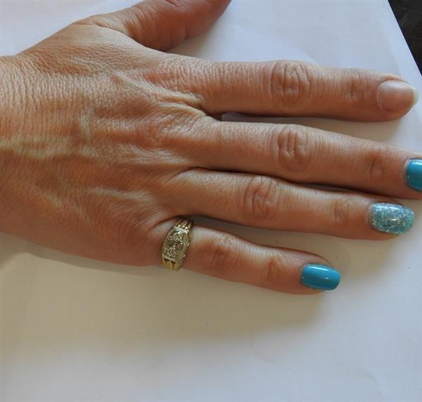 Art Deco 14K Gold Diamond Ring - 4