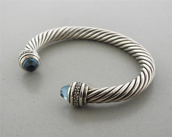 David Yurman 14K Gold Sterling Blue Topaz Cable Cuff - 2