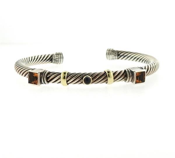David Yurman 14K Gold Sterling Citrine Iolite Bracelet
