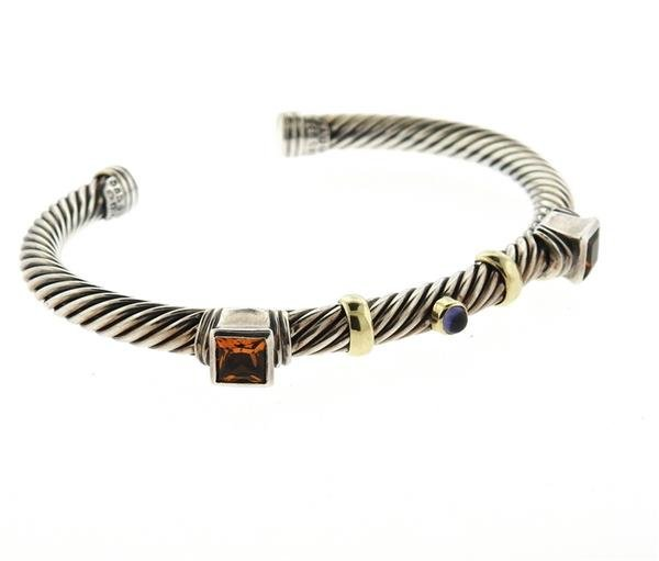 David Yurman 14K Gold Sterling Citrine Iolite Bracelet - 3