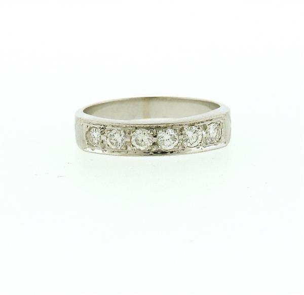 18k Gold Diamond Six Stone Half Band Ring