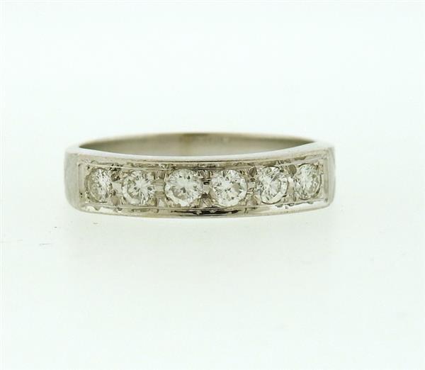 18k Gold Diamond Six Stone Half Band Ring - 2
