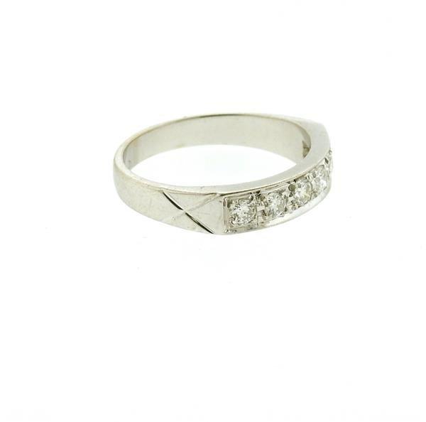 18k Gold Diamond Six Stone Half Band Ring - 3