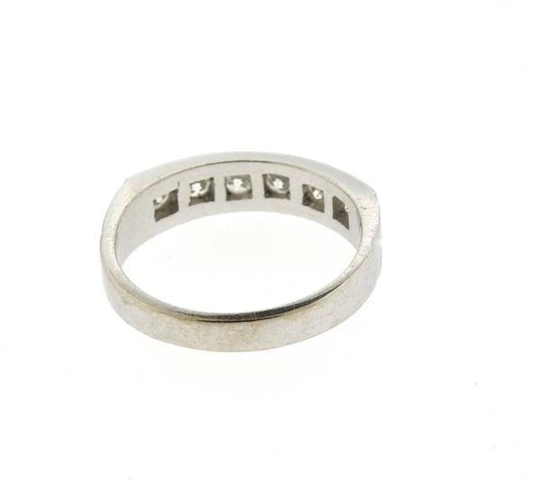 18k Gold Diamond Six Stone Half Band Ring - 4
