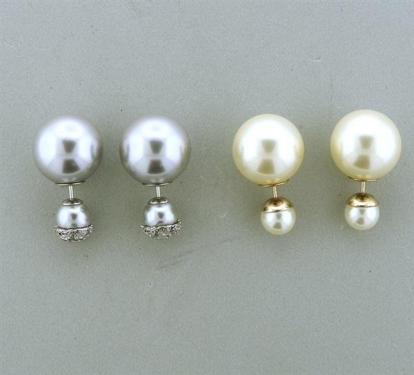 Christian Dior Miss Dior  Double Ball Earrings Lot of 2