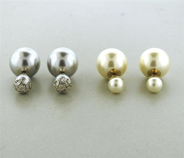 Christian Dior Miss Dior  Double Ball Earrings Lot of 2 - 3