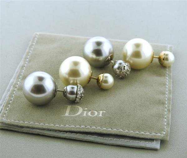 Christian Dior Miss Dior  Double Ball Earrings Lot of 2 - 5