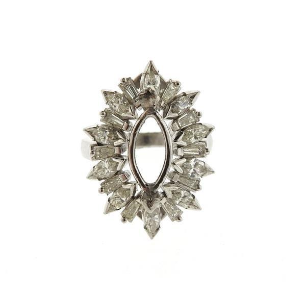 1950s Platinum Diamond Ring Setting Mounting