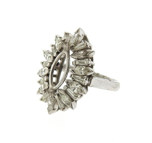 1950s Platinum Diamond Ring Setting Mounting - 2