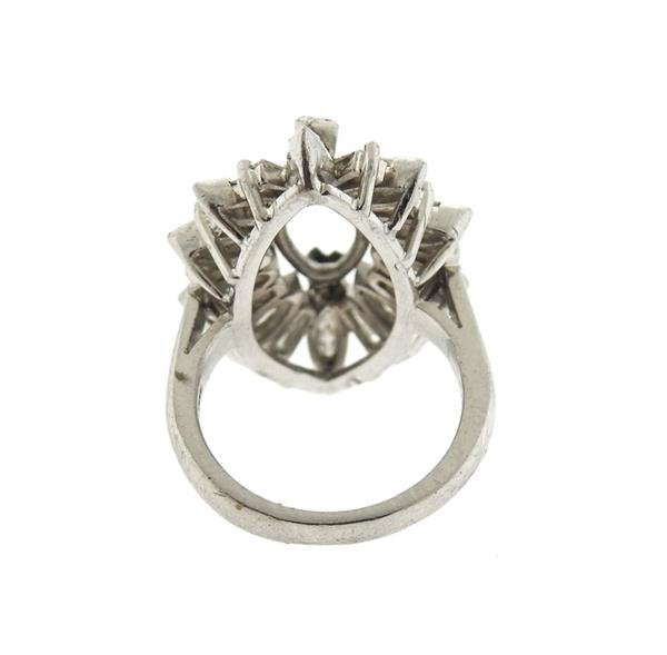 1950s Platinum Diamond Ring Setting Mounting - 3