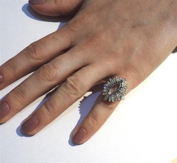 1950s Platinum Diamond Ring Setting Mounting - 4