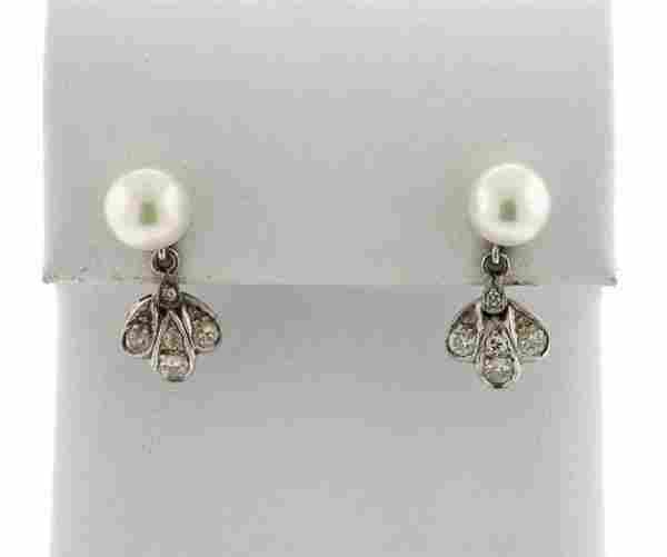 Mid Century 14k Gold Diamond Pearl Drop Earrings